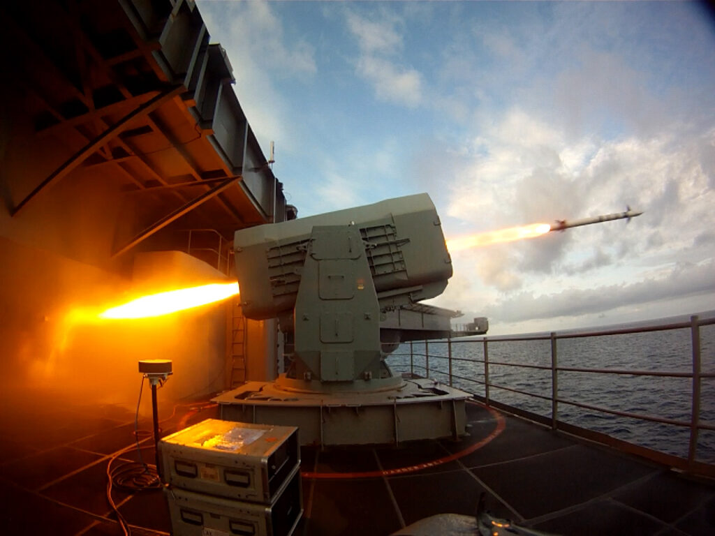 the aircraft carrier uss theodore roosevelt (cvn 71) launches a rolling airframe missile (ram).