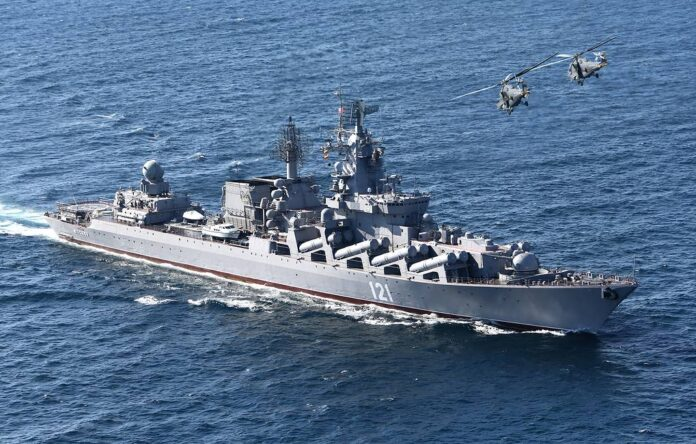 The Russian Navy Slava Class cruiser Moskva during the Kavkaz 2012 exercise in the Caspian Sea. (Photo ITAR-TASS/ Vadim Savitsky)
