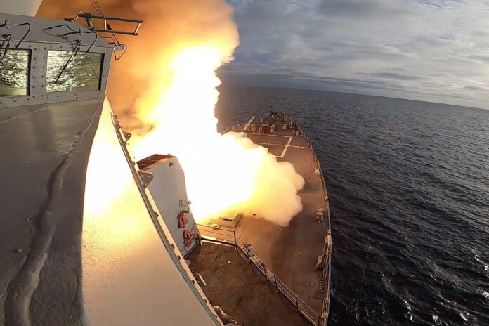 The guided-missile destroyer USS John Finn (DDG 113) launches an Extended Range Active Missile (SM-6) during U.S. Pacific Fleet's Unmanned Systems Integrated Battle Problem (UxS IBP) 21. UxS IBP 21 integrates manned and unmanned capabilities into challenging operational scenarios to generate warfighting advantages. (U.S. Navy photo)