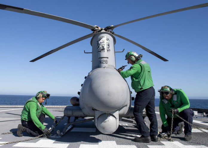 Sailors conduct pre-flight checks to an MQ-8B Fire Scout unmanned aerial vehicle aboard Independence-variant littoral combat ship USS Charleston (LCS 18).
