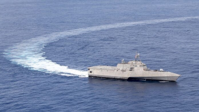 Independence-variant littoral combat ship USS Charleston (LCS 18) transits the Pacific Ocean in support of the Oceanica Maritime Security Initiative (OMSI) program.