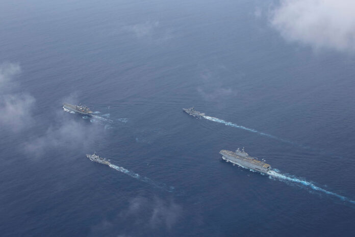 HMA Ships Anzac and Sirius sail in-company with French Navy ships FS Tonnerre and FS Surcouf of the Jeanne d'Arc Task Group during a transit of the South China Sea.