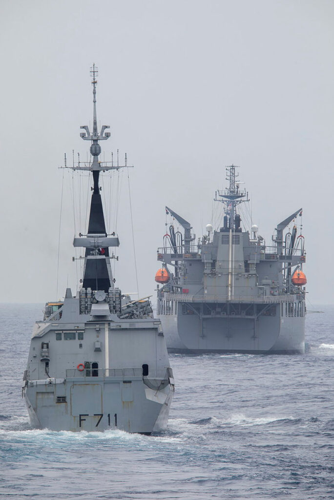 french navy frigate fs surcouf and hmas sirius sail in-company during a cooperative transit of the south china sea.