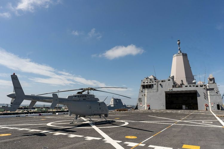 Northrop Grumman's MQ-8C Fire Scout passes the initial fit check aboard the USS Anchorage