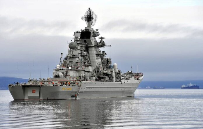 The Russian battlecruiser Pyotr Velikiy leaves for St Petersburg to take part in a ship parade marking Russian Navy Day. Lev Fedoseyev/TASS