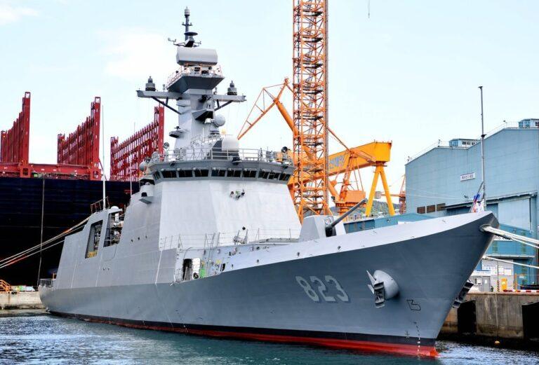 DSME launches 5th Daegu Class frigate ROKS Daejeon (FFG-823)