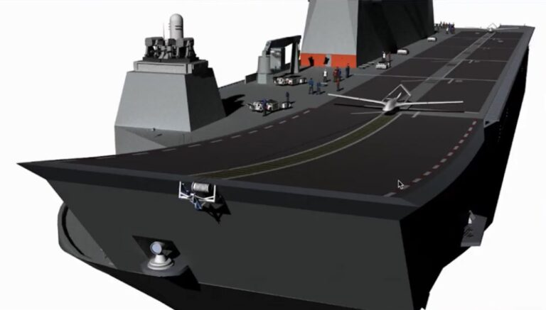 Turkish company unveils the 1st image of TCG Anadolu carrying drone