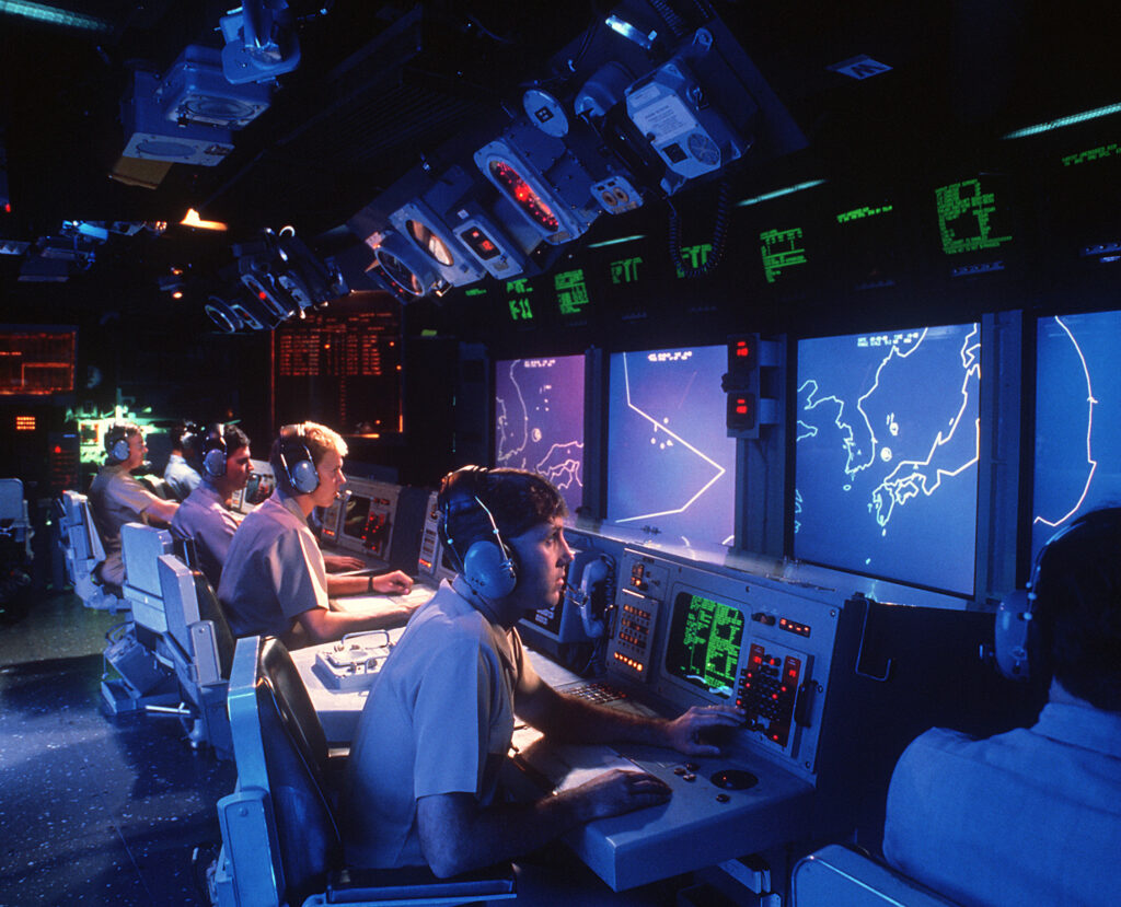 uss vincennes showing some of the earlier aegis large screen displays now outmoded usn photo - naval post