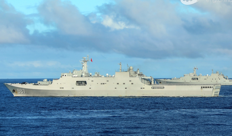 """China's Newly Commissioned Type 071 LPD """"Qilianshan"""" Joins Fleet Exercise"""
