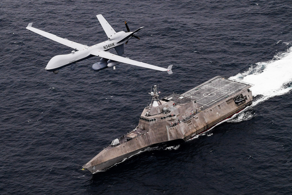 us navy unmanned aerial vehicle mq 9b sea guardian operates with naval assets - naval post- naval news and information