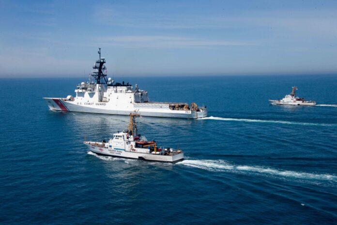 USCGC Hamilton (WMSL 753) and Georgian coast guard vessels Ochamchire (P-23) and Dioskuria (P-25) conduct underway maneuvers in the Black Sea, May 2, 2021.