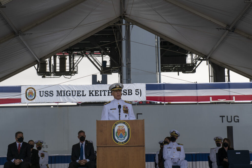 adm. craig s. faller, commander, u.s. southern command, speaks during the commissioning ceremony for the lewis b. puller-class expeditionary mobile base uss miguel keith (esb 5). (us navy photo)