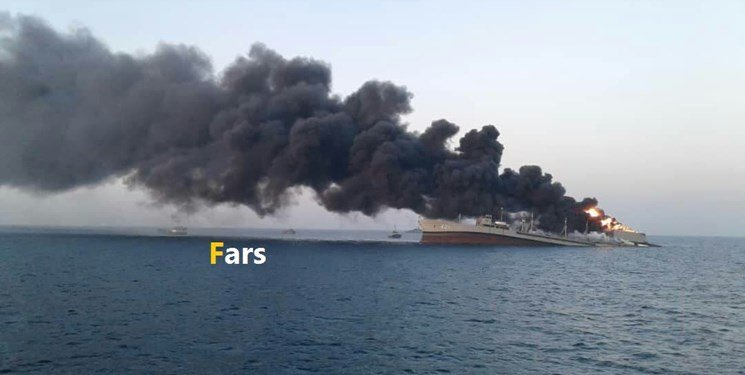 """Iran Navy's support ship """"Kharg"""" caught lethal fire in the Gulf of Oman"""