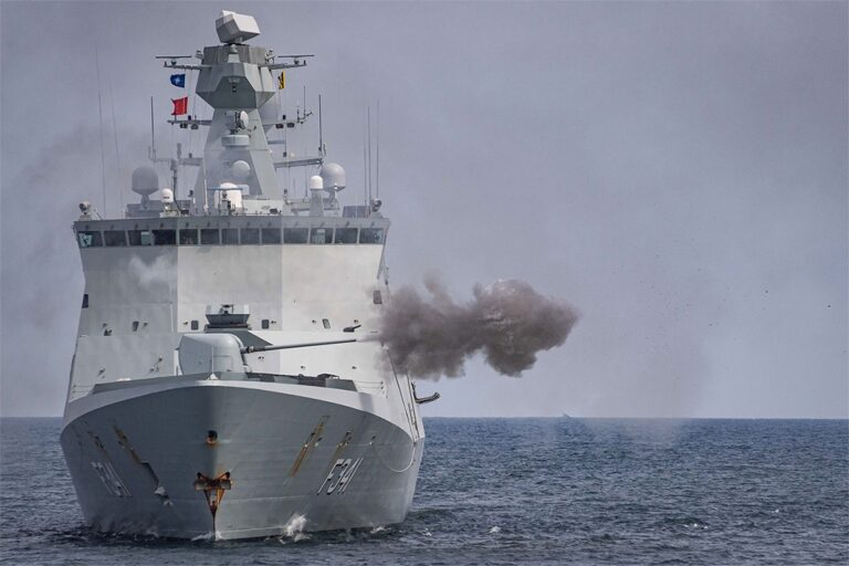 NATO warships conduct Naval Gunfire Support in close coordination with land elements