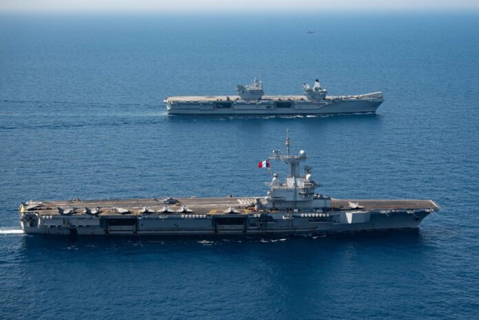 French carrier Charles de Gaulle and British carrier Queen Elizabeth have conducted joint training 1-4 June 2021