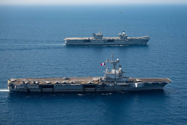 French and UK Carrier Strike Groups Train Together in the Mediterranean