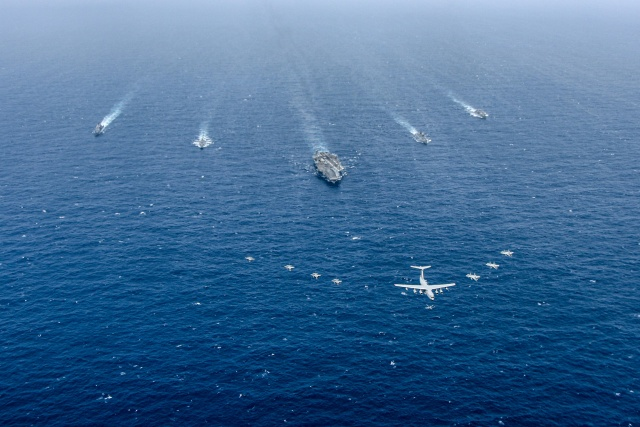 uss ronald reagan (cvn 76) and carrier strike group 5 conducted joint maritime training with the indian navy and air force, helping promote a free and open indo-pacific.