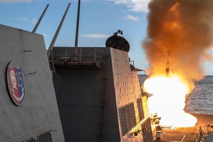 ASMA SEA (July 7, 2021) – The Arleigh Burke-class guided-missile destroyer USS Rafael Peralta (DDG 115) fires a SM-2 missile during exercise Pacific Vanguard 2021. Pacific Vanguard, an exercise involving U.S., Australian, Republic of Korea navies and Japan Maritime Self Defense Force, is designed to strengthen maritime operations in the multilateral environment. (U.S. Navy photo )