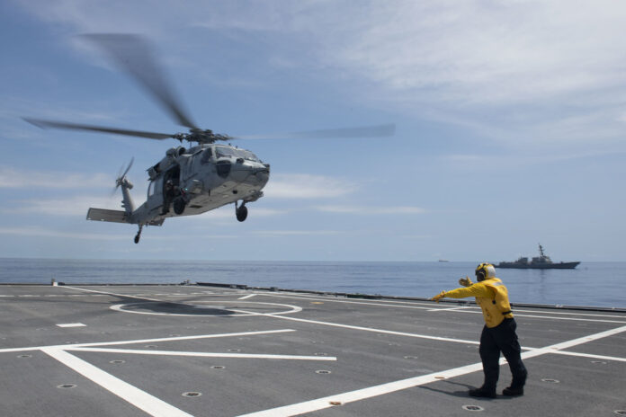 USS Tulsa (LCS 16) conducts flight operations, July 9. (Source: US Navy)