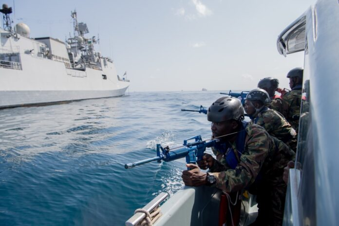 Comoros sailors prepare to participate in visit, board, search and seizure training aboard the Indian Talwar-class frigate INS Trikand (F 51) during exercise Cutlass Express 2019 in Djibouti, Feb. 4, 2019. (U.S. Air Force photo)