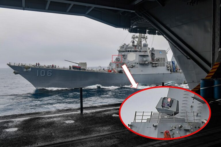 The U.S. Navy released the 1st photo of USS Stockdale fitted with ODIN laser weapon