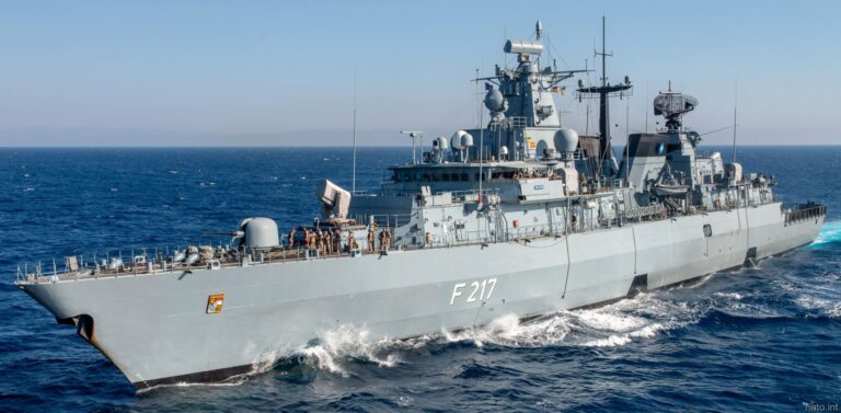 The German warship FGS Bayern heads for the Indo-Pacific