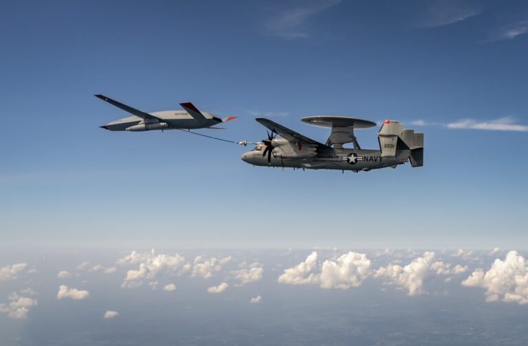 Another first for the MQ-25: Air-to-air refueling with an E-2D