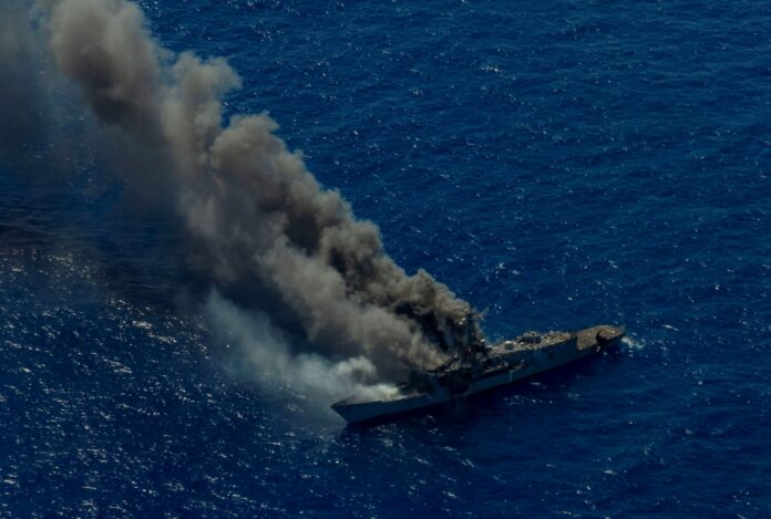 U.S. joint forces conducted coordinated multi-domain, multi-axis, long-range maritime strikes in the Hawaiian Islands Operating Area during a sinking exercise on the decommissioned guided missile frigate ex-USS Ingraham, Aug. 15.