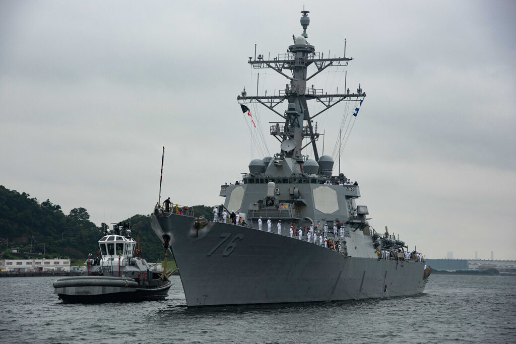 the arleigh burke-class guided-missile destroyer uss higgins (ddg 76) arrives at commander, fleet activities yokosuka (cfay), japan aug. 16 as one of the newest additions to commander, task force (ctf) 71/destroyer squadron (desron) 15. higgins is assigned to (u.s. navy)
