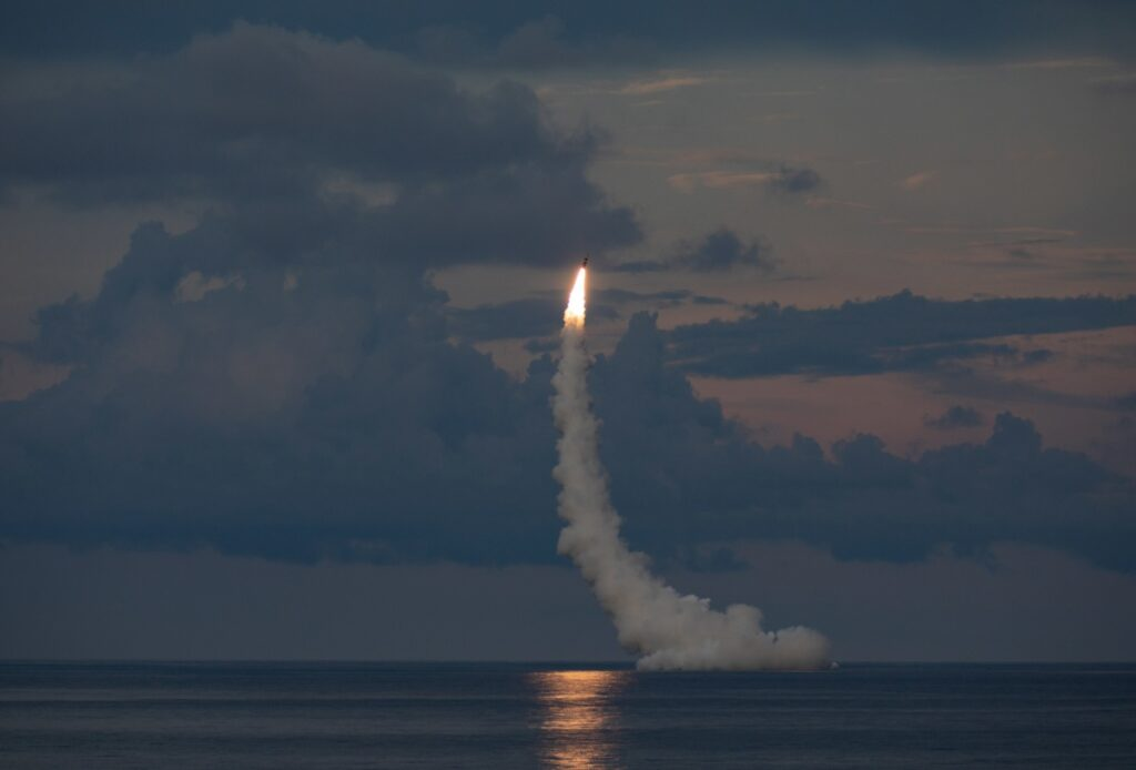 an unarmed trident ii d5le missile launches from the ohio-class ballistic missile submarine uss wyoming (ssbn 742) off the coast of cape canaveral, florida, during demonstration and shakedown operation (daso) 31. (u.s. navy photo)