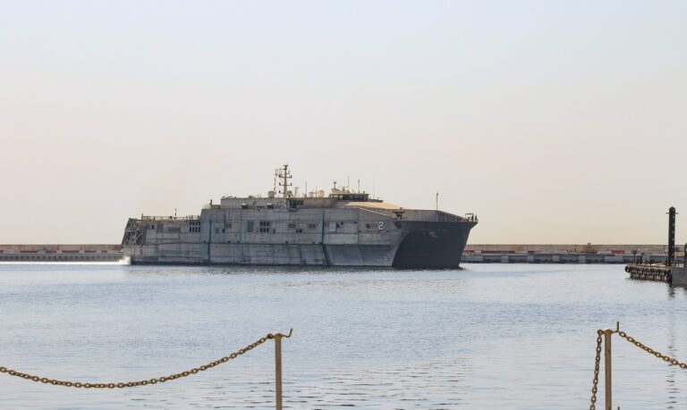 The USNS Choctaw County arrives in Lebanon for the first time as part of the CPS Mission