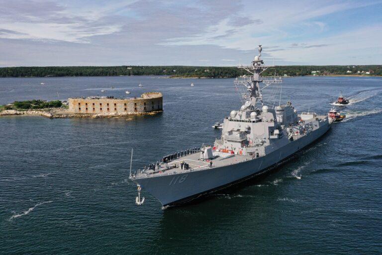 Future USS Daniel Inouye departs shipyard