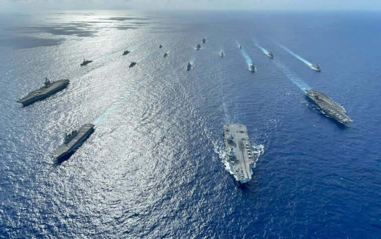 Multiple Carrier Strike Groups Operate Together in the Philippine Sea